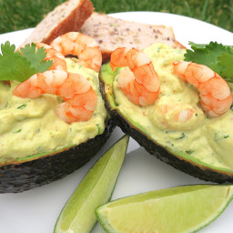 KETO AVOCADO BOATS with PRAWNS in LIME and GINGER MAYONNAISE