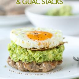 Keto Breakfast Sausage and Guac Stacks