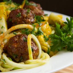 """Keto Sriracha """"Spaghetti + Meatballs"""