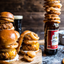 Kickin' Cajun Chicken Sliders with Beer Battered Onion Rings.