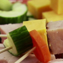 Kiddie Kabobs with Turkey, Tomatoes, Carrots and Cucumber