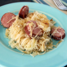Kielbasa and fried buttered sauerkraut