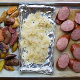 Kielbasa and Sauerkraut Sheet Pan Dinner