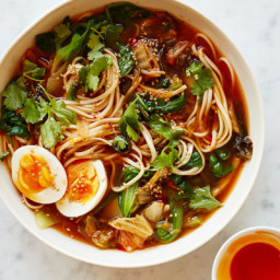 Kimchi Noodle Soup With Wilted Greens