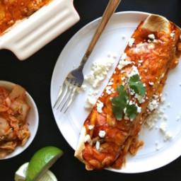 Kimchi Pork Enchiladas with Queso Fresco