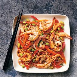 Kimchi soba with prawns & edamame