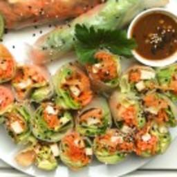 Kimchi Summer Rice Rolls + Miso Sesame Sauce