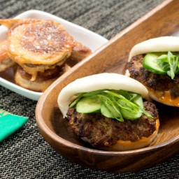 Korean Bao Sliders with Gochujang Mayo and Sweet Potato Tempura