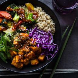 Korean BBQ Tofu Bowls with Stir-Fried Veggies and Quinoa
