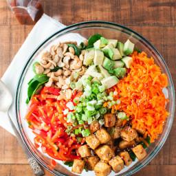 Korean BBQ Tofu Salad with Spicy Sesame Dressing
