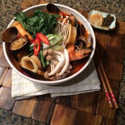Korean Spicy Seafood Noodle Soup
