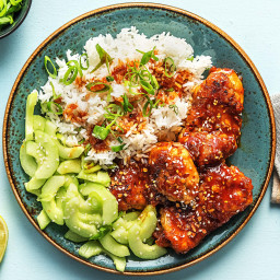 Korean-Style Chicken Thighs with Sesame Cucumber Salad and Jasmine Rice