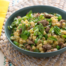 Lamb and Risotto-Style Ditalini Pastawith Spring Onion and Green Beans