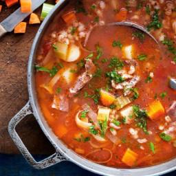 Lamb, barley and vegetable soup