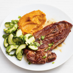 Lamb Chops with Carrot Puree and Cucumber Salad