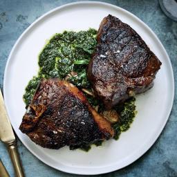 Lamb Chops with Greens and Sorrel Salsa Verde