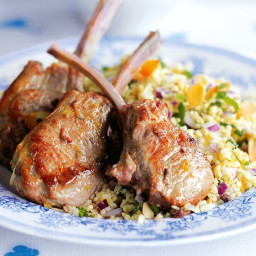 Lamb cutlets with mint and parsley tabbouleh