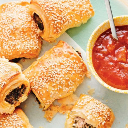 Lamb, feta and spinach sausage rolls
