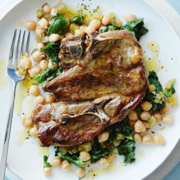 Lamb forequarter chops with chickpeas and spinach
