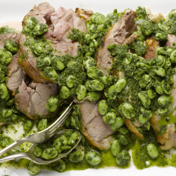 Lamb shoulder with broad beans and herbs