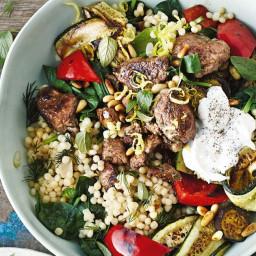 Lamb souvlaki bowl with olive tzatziki