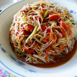 Lao spicy rice vermicelli salad recipe - tum khao poon