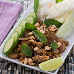 Laotian Larb Gaiwith Sticky Rice, Peanuts and Mint