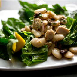 Large White Bean, Tuna and Spinach Salad