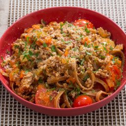 Late Summer Pork Bolognesewith Whole Grain Linguine and Cherry Tomatoes