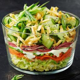 Layered crunchy noodle salad