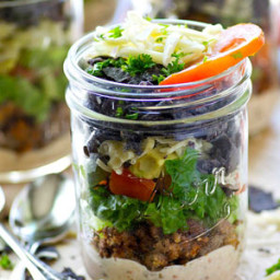 Layered Taco Salad in a Jar with Chipotle Ranch Dressing