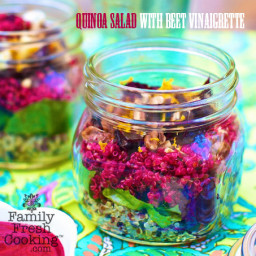 Layered Quinoa Salad with Beet Vinaigrette