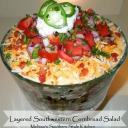 Layered Southwestern Cornbread Salad