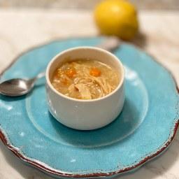Lazy Slow Cooker Lemon Chicken Rice Soup