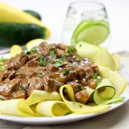 Lean Beef Stroganoff on Zucchini Ribbons