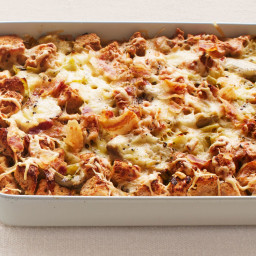 Leek and Artichoke Bread Pudding