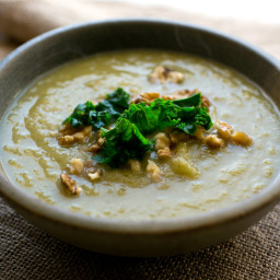 Leek and Turnip Soup With Kale and Walnut Garnish