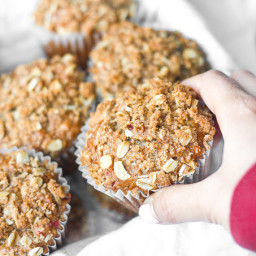 Leftover Cranberry Sauce Muffins with Oat Streusel Topping