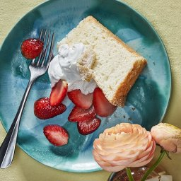 Lemon Angel Food Cake with Strawberries & Coconut Cream