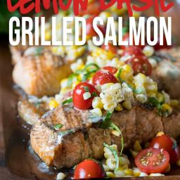 Lemon Basil Grilled Salmon