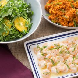 Lemon-Butter Shrimpwith Tomato Rice and Arugula-Orange Salad