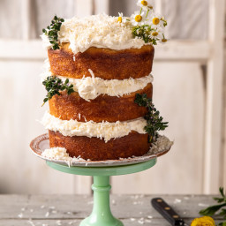 Lemon Coconut Naked Cake with Whipped Vanilla Buttercream.
