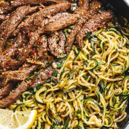 Lemon Garlic Butter Steak with Zucchini Noodles