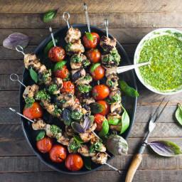 Lemon-Garlic Chicken and Tomato Skewers with Basil Chimichurri
