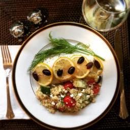 Lemon Halibut with Mediterranean Quinoa