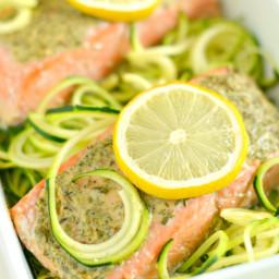Lemon Herb Salmon Zucchini {GF, Low Cal, Paleo}