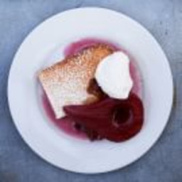 Lemon-Olive Oil Cake with Poached Pears