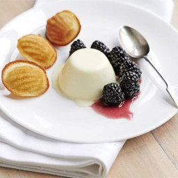 Lemon panna cotta with blackberries and honey madeleines
