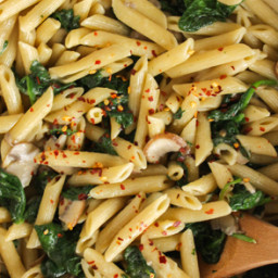 Lemon Penne Pasta with Mushrooms and Spinach