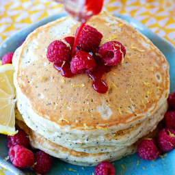 Lemon-Poppy Seed Pancakes with Raspberry Syrup